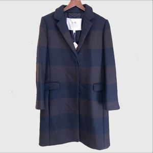 New Coach striped chesterfield wool long coat